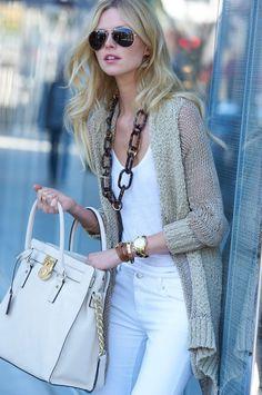Love that handbag & the crisp white ensemble | Closet Covets