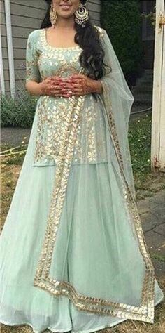 Excited to share this item from my shop: Sku blue gotta embroidery kurta with skirt Indian wedding lehenga Indian Bridesmaid Dresses, Indian Gowns Dresses, Pakistani Dresses, Punjabi Wedding Dresses, Indian Wedding Lehenga, Indian Wedding Outfits, Indian Bridal, Indian Kurta, Indian Outfits Modern