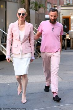 Snap! Tilda Swinton, 55 and her 38-year-old boyfriend Sandro Kopp wore matching pink outfits on the set of Okja on Wednesday