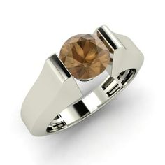 Round Brown Diamond  Men's Ring in 14k White Gold