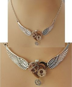Silver Steampunk Heart, Wings & Gears Necklace Jewelry Handmade NEW Fashion