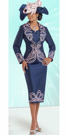 Donna Vinci 11541 Womens Skirt Suit With Elaborate Embroidery