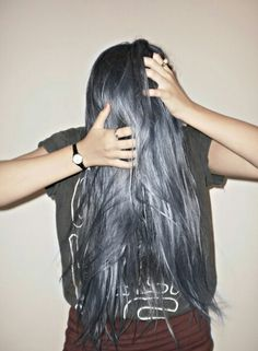LONG gun metal silver hair..is everything