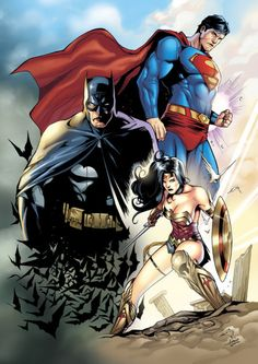 "super-hero-center:  "" DC Trinity Color by morphews  """