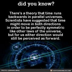 There's a theory that time runs backwards in parallel universes. Scientists have suggested that time might move in both directions in order to be perfectly symmetric like other laws of the universe,. Physics Theories, Physics Facts, Cool Science Facts, Wtf Fun Facts, Conspericy Theories, Astronomy Facts, Astronomy Science, Space And Astronomy, Astronomy Quotes
