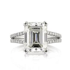 5.37ct Emerald Cut Diamond Engagement Anniversary Ring
