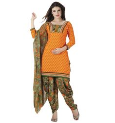 Crepe #Yellow Printed Unstitched #Patiala #Suit - Q1003 at Rs 715 #womenswear #fashion #clothing  #SalwarKameez