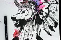 native wolf art drawing watercolour fineliner- graphic style savage