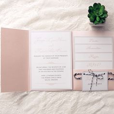 cheap simple blush pink pocket wedding invitations with tags EWPI145 as low as $1.69