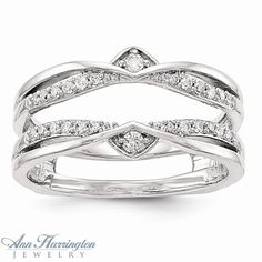 14k White Gold 1/5 ct tw Diamond Antique Style Ring Guard, 1356611