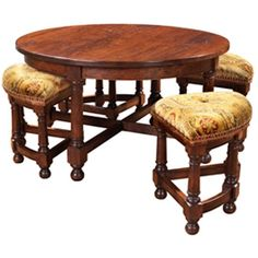 MacKenzie-Dow English Pub Round Cocktail Table with Nesting Stools