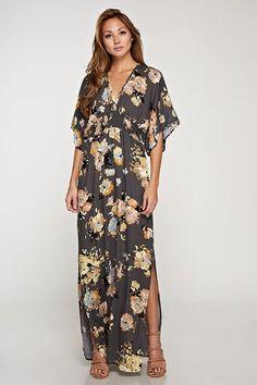 8b0f5e62e6511 Lovestitch Charcoal Floral Maxi Dress