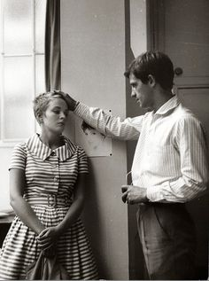 """Jean-Paul Belmondo co starred with Jean Seberg on one of the most acclaimed films of """"Breathless"""" (""""A Bout De Souffle). This film directed by Jean-Luc Godard is representative of the French New Wave. Jean Seberg, Film Scene, French New Wave, French Style, Gamine Style, Carlos Castaneda, Jean Luc Godard, Nostalgia, The New Wave"""