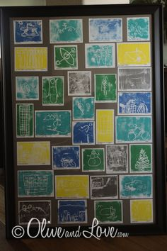 """Salt Lake's Best"" Print Making.  Kids make styrofoam prints of popular landmarks or activities and then they are combined in one frame."