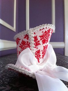 TwoBackFlats - Red And White Damask Mini Top Hat 2