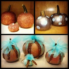Decorated pumpkins for Fall, Halloween, Thanksgiving. Glitter. Polka dots. Tulle.