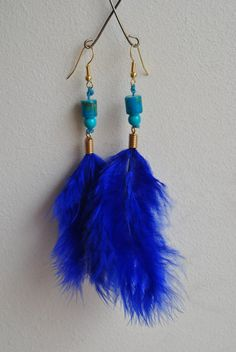 Bright Blue and Turquoise Feather Earrings by TwoforJoyJewellery, €8.00