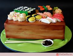Sushi Platter Groom's Cake by Pink Cake Box in Denville, NJ.  More photos at http://blog.pinkcakebox.com/sushi-platter-grooms-cake-2011-07-27.htm  #cakes