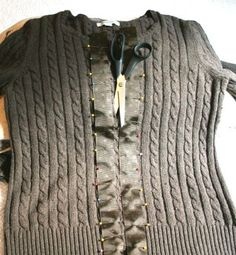 how to easy make a cardigan from a sweater. More