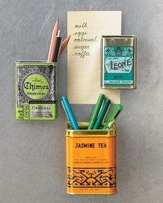 What a fun idea. Turn tea tins into fridge magnets! Or white board magnets. This just gave me a great idea.I have some vintage spice tins that are not displayed very well.I should just make them into magnets! Do It Yourself Design, Do It Yourself Inspiration, Do It Yourself Home, Color Inspiration, Do It Yourself Organization, Organizing Life, Spice Tins, Spice Racks, Spice Holder