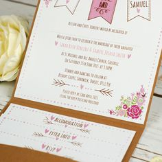 Rustic Floral Pocketfold Wedding Invitations  From: £3.49  All stationery is personalised free with your choice of wording and colours.  Thi...