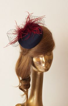 Amazing Navy Blue FASCINATOR with VEIL & by ancoraboutique on Etsy, $129.00