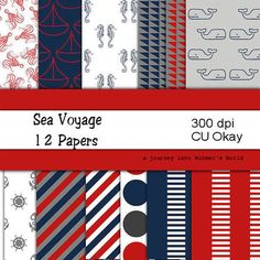 Digital Scrapbooking Sea Voyage Digital Scrapbook Paper Travel, Boats, Whales, Cruises and Seahouses