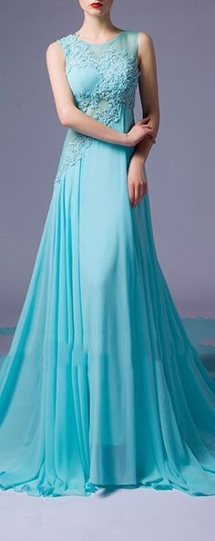 Turquoise Sleeveless Chiffon See Through Back With Appliques Evening Dress