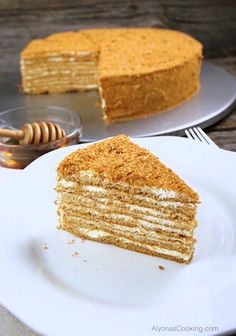 Our local Russian Store sells these amazingly soft, spongey and thin cake layers that make for one of the most delicious honey cakes sold in the area -Medovik.
