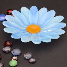 Blue Flower Dish fused glass 5.25 diameter via Etsy