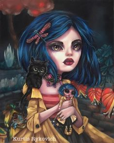 Coraline The Art of Kurtis Rykovich Coraline Art, Coraline Jones, Coraline Tattoo, Arte Lowbrow, Arte Horror, Horror Art, Goth Art, Pop Surrealism, Big Eyes