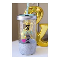 Be-YOU-tiful Glitter Tumbler // Mason Jar Tumbler // Glitter Dipped Tumbler // Beautiful Tumbler // Glitter Tumbler // Glitter Cup