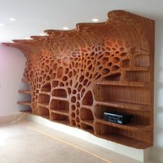 Wooden shelf in a private residence with the organic cellular formation and gradient concave-convex condition towards the ceiling.