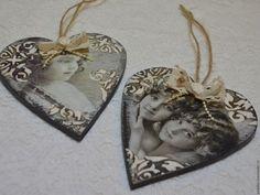 Купить Подвеска сердце - чёрно-белый, сердце, валентинка, сердце декупаж, подарок, подвеска сердце