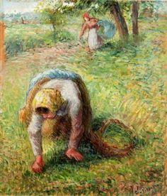 1883 Campesina recogiendo hierba