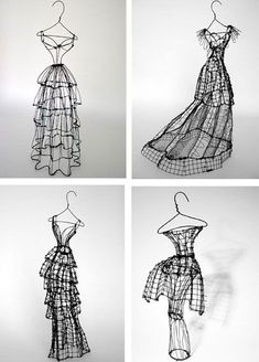 Dramatic Fashion sketches in wire. Each one-of-a-kind sculpture has its own name inspired by the distinct personality of the dress - Miss Leigh Sculptures Sur Fil, Sculpture Art, Wire Sculptures, Abstract Sculpture, Bronze Sculpture, 3d Zeichenstift, Stylo 3d, Art Fil, 3d Pen