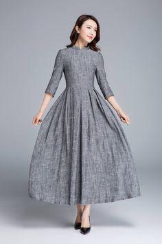 I don't know why I want to look like a 19th c. school marm, but I do. grey dress, linen dress, summer dress, maxi dress, romantic dress, classic dress, pleated dress, fitted dress, womens dresses, gift 1653