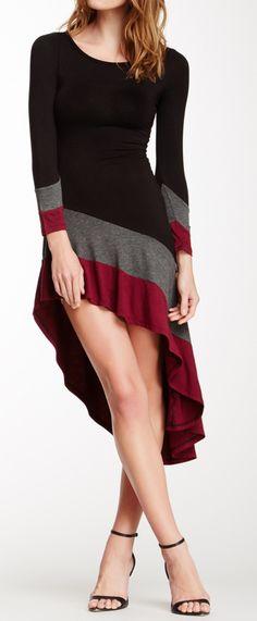 Colorblock asymmetrical dress