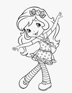strawberry-shortcake coloring page Cute Coloring Pages, Disney Coloring Pages, Free Coloring, Adult Coloring Pages, Coloring Pages For Kids, Coloring Sheets, Coloring Books, Strawberry Shortcake Coloring Pages, Princess Coloring