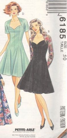 McCalls 6185, 90s Cocktail/Party Dress, Versatile Vintage dress would look great as a Bridesmaid dress also. I have this elegant Fit and Flare dress with sweetheart neckline in 3 sizes (Misses 6, 8,10 &16) in my Etsy store, EXTREMESEWINGDIVA. https://www.etsy.com/listing/174131959/mccalls-6185-sz-10-fit-and-flare