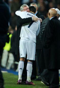 Ronaldo embraces Sir Alex Ferguson at the end of the match