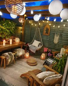 Summer is finally here, which means it's time to think about your backyard entertaining options. Your exterior space doesn't have to be b. Garden Design Plans, Patio Design, Outdoor Spaces, Outdoor Living, Outdoor Decor, String Lights Outdoor, Garden Spaces, Terrace Garden, Backyard Patio