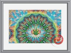 Weed Mandala Fantasy Counted Cross Stitch Pattern, Instant Download PDF