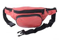 Bauchtasche mit Fronttasche Reißverschluss - Nappa Leder hell rot