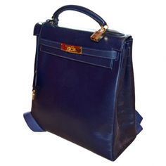 Kelly backpack HERMÈS Blue in Leather All seasons - 383183 #hermes #vestiairecollective