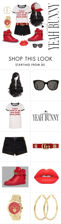 """""""Untitled #76"""" by mzjerseygurl ❤ liked on Polyvore featuring Gentle Monster, Yeah Bunny, Hollister Co., Gucci, BUSCEMI, Lime Crime and Michael Kors"""