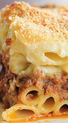 Pastitsio ~ layers of ziti pasta with a beef and lamb sauce, bechamel and loads of cheese.