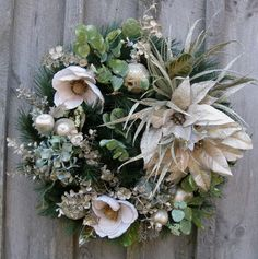 Elegant Silver & Cream Christmas Wreath