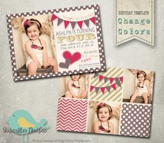 Banner Birthday Invitation Templates van SugarfliesDesigns op Etsy