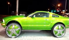 We're not sure who to blame for the big-wheel phenomenon that has swept the automotive community in the last decade. We guess at the end of the day, the only person to blame for this monstrosity of a Mustang riding on 30-inch wheels is the owner, who seems strangely proud of awkward muscle car.